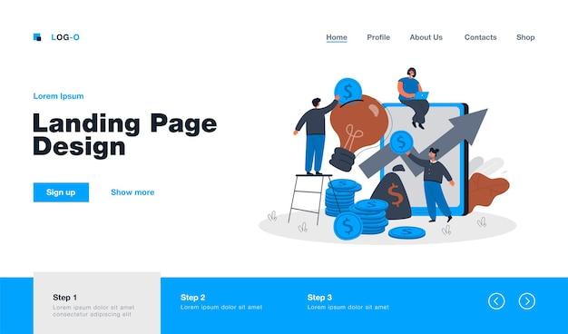 Personas diminutas que invierten en ideas, página de inicio de proyectos creativos en estilo plano