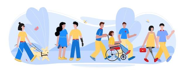 Personas con discapacidad caminando con amigos en la naturaleza de verano