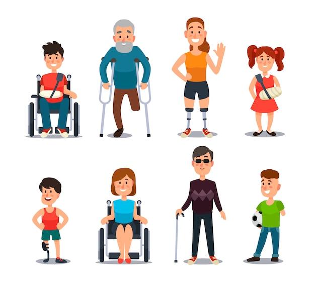 Personas con discapacidad. dibujos animados de personajes enfermos y discapacitados.