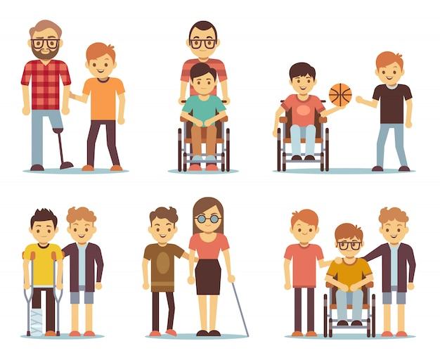 Personas discapacitadas y amigos ayudándoles a establecer. personas discapacitadas cuidan los iconos.