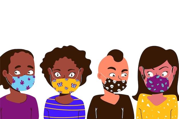 Personas con diseño de máscaras faciales de tela