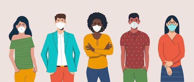 Personas de diseño plano con máscara