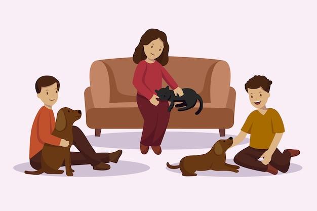 Personas de diseño plano con mascotas.