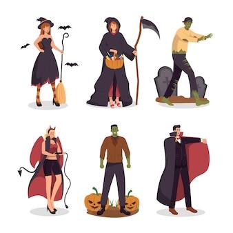 Personas en disfraces de halloween