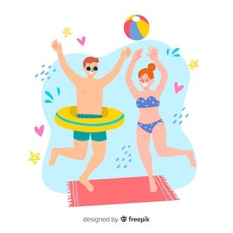 Personas disfrutando verano