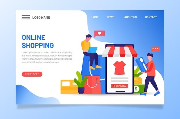 Personas en dispositivos digitales página de inicio de compras en línea