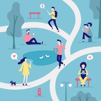 Personas con dispositivos inteligentes. concepto moderno plano, hombre leyendo libros electrónicos y mujer navegando por internet en la ilustración de vector de teléfono inteligente