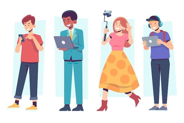 Personas con dispositivos tecnológicos de ocio y trabajo.