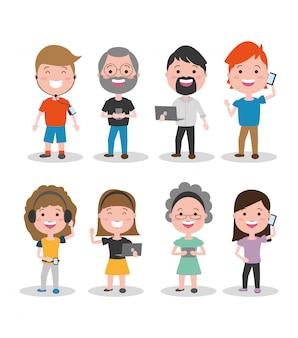 Personas con dispositivos tecnológicos