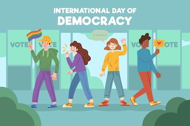 Personas con diversas personalidades dia de la democracia