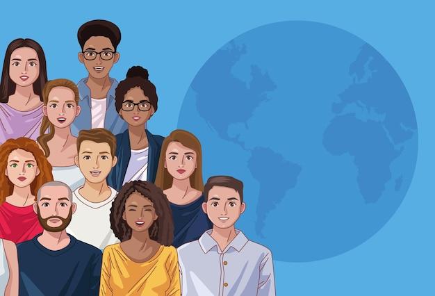 Personas de diversidad y planeta
