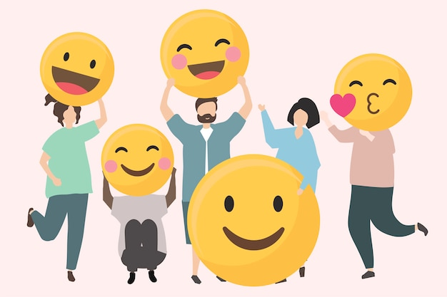 Personas con divertidos y felices ilustraciones de emojis.