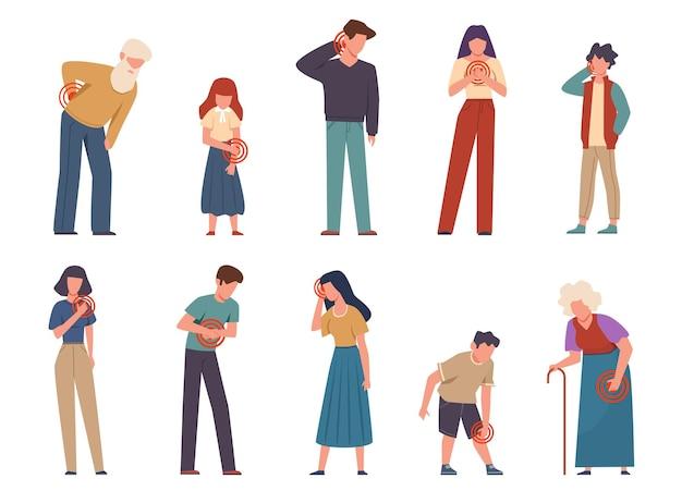 Personas con dolor. hombres y mujeres que sufren dolor en diferentes partes del cuerpo.