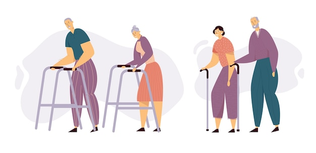 Personas de edad caminando con bastones. personajes de hombre y mujer senior felices juntos.