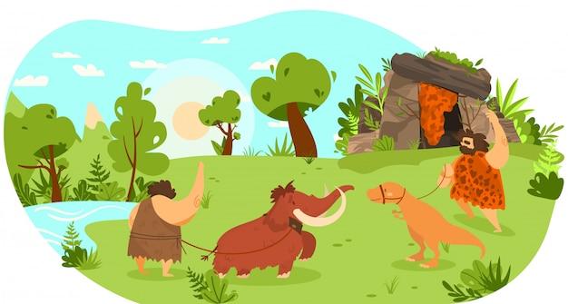 Personas de la edad de piedra con animales de compañía, mamuts y dinosaurios con correa, ilustración divertida