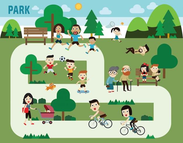 Personas en los elementos infográficos del parque