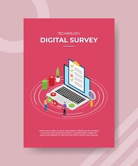 Las personas de la encuesta digital llenan la lista de verificación en la computadora portátil para la plantilla de folleto