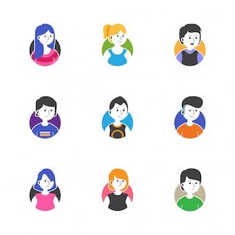 Las personas se enfrentan a la colección de vectores de iconos de perfil