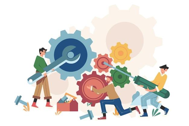 Personas con enlaces de engranajes de mecanismo empresarial.