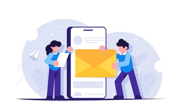 Las personas envían o reciben una carta mediante un teléfono móvil.