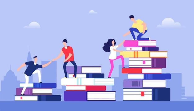 Personas escalando libros éxito empresarial, nivel educativo y personal y concepto de desarrollo de habilidades