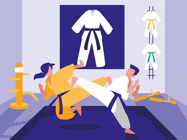 Personas en escena de dojo de artes marciales