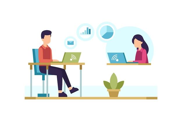 Personas en escritorios con computadoras portátiles