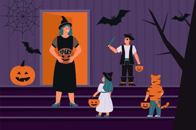 Personas en espeluznantes disfraces de halloween