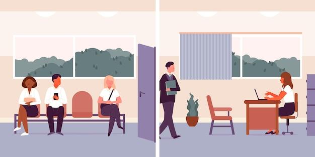 Personas esperando entrevista de trabajo