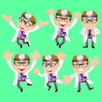 Personas establecen médico de profesión en diferentes poses.