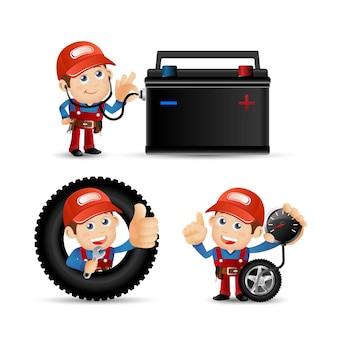Personas establecer profesión mecánico
