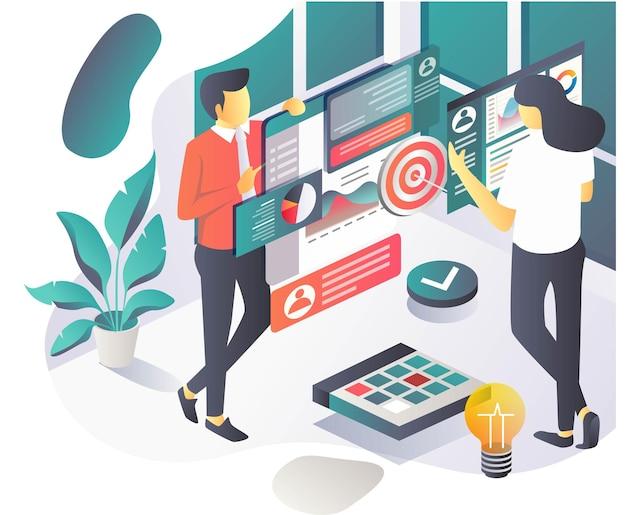 Las personas están teniendo discusiones o reuniones para la estrategia y el marketing digital y la analítica.