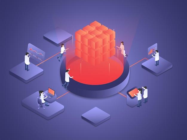 Las personas están trabajando juntas procesando y computando los datos de inteligencia artificial isométrica.