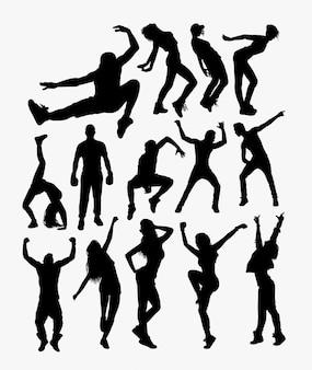 Personas de estilo libre de acción silueta.