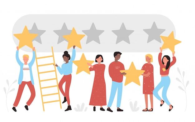 Personas con estrellas doradas sobre las cabezas. los comentarios califican el servicio, dejan comentarios al consumidor, cinco puntos obtienen una evaluación positiva de la revisión del cliente y la ilustración plana de satisfacción de la experiencia del usuario.