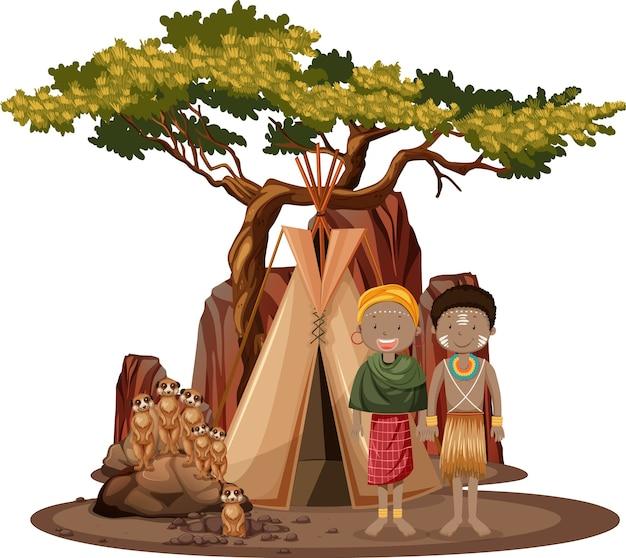 Personas étnicas de tribus africanas aisladas