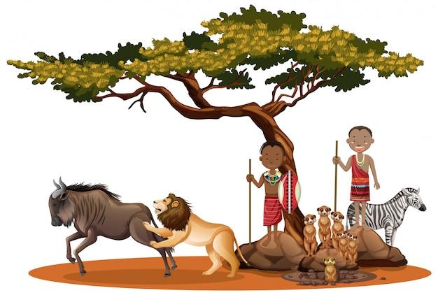 Personas étnicas de tribus africanas y animales salvajes.