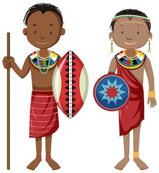 Personas étnicas de tribus africanas en personaje de dibujos animados de ropa tradicional