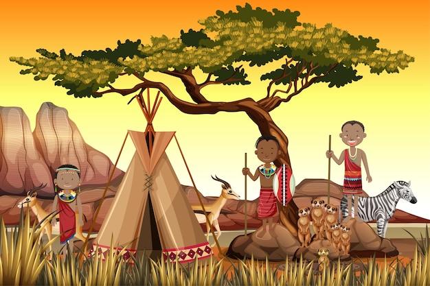 Personas étnicas de tribus africanas en vestimentas tradicionales en el fondo de la naturaleza