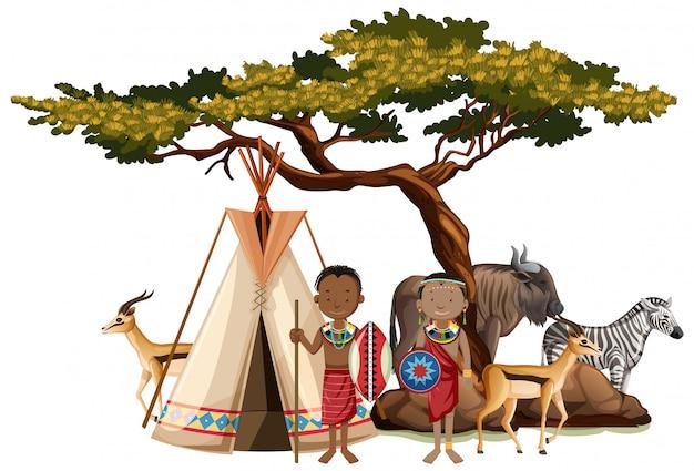 Personas étnicas de tribus africanas en vestimentas tradicionales en la naturaleza aislada