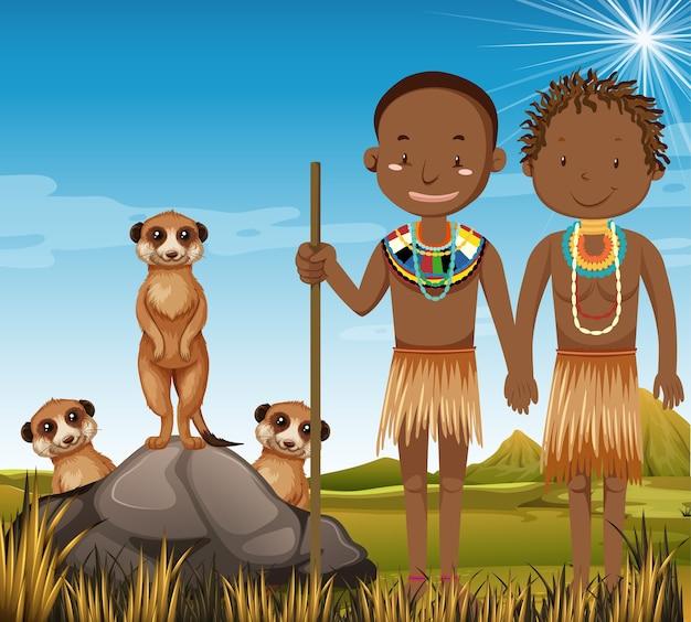 Personas étnicas de tribus africanas en vestimentas tradicionales en la naturaleza