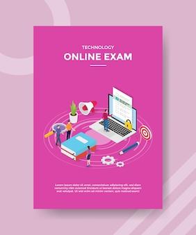 Personas de examen en línea de tecnología de pie cerca de la computadora portátil del libro para la plantilla de pancarta y folleto