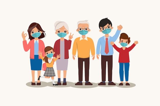 Personas de la familia con concepto de protección de máscara protectora