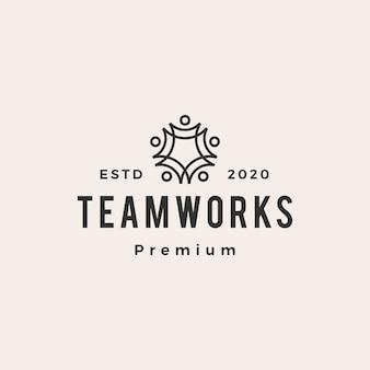 Personas familia equipo trabajo vintage logo