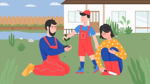Personas de la familia plantando, padre de dibujos animados, madre e hijo jardineros niño plantan árboles en el jardín de la casa