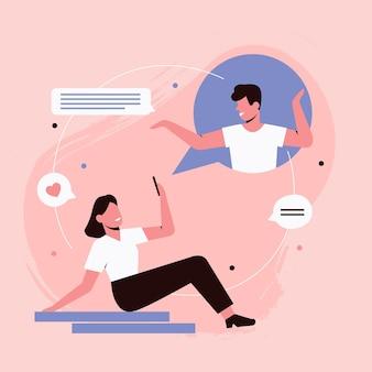 Personas en la fecha en el chat en línea, ilustración del concepto de comunicación por internet.
