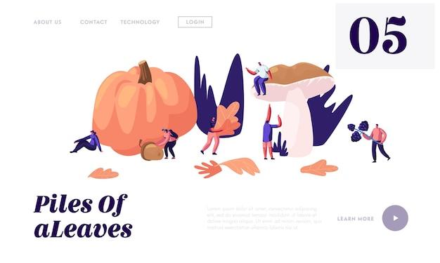 Las personas felices pasan tiempo al aire libre en la temporada de otoño, recogen hojas caídas, setas, bayas, calabazas y bellotas. página de destino del sitio web, página web.