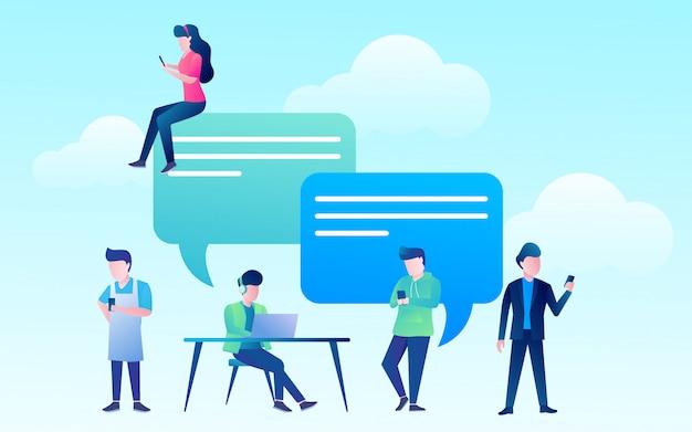 Las personas felices usan teléfonos móviles y computadoras portátiles para chatear en las redes sociales.