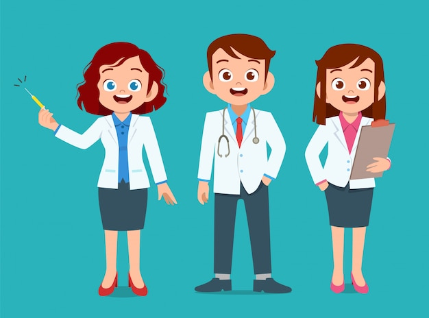 Las personas felices visten uniforme médico
