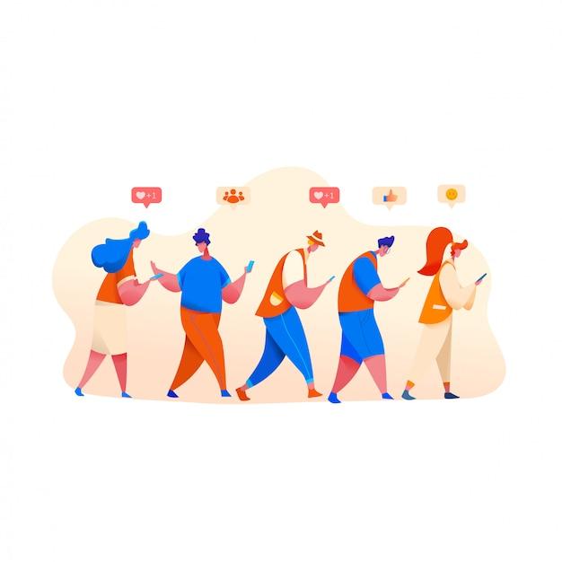 Personas en fila mirando el teléfono con emoji de redes sociales, sonrisas y s.